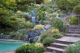 Rock Garden Waterfall Swimming Pool And Hillside Rock Garden With Waterfall Asian