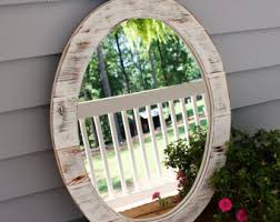 Circle Bathroom Mirror Wood Mirror Etsy