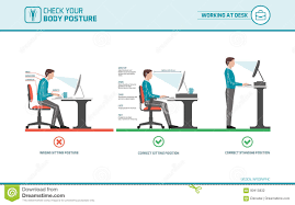 position assise bureau position d assise correcte au bureau illustration de vecteur