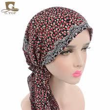 pre chemo 2017 new women head scarf chemo hat turban pre tied headwear