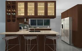 Brown Cabinet Kitchen Cool Kitchen Peninsula Ideas With Iron Chairs And Brown Cabinet