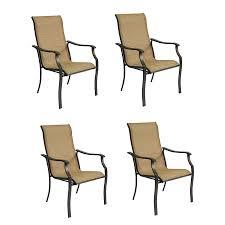 Stackable Sling Patio Chairs Shop Garden Treasures Set Of 4 Eastmoreland Textured Brown Sling