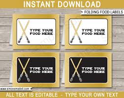 gold star wars food labels place cards birthday party