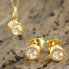 stone setting gold necklace images Gemstone white topaz rose gold jewellery gift set by embers jpg