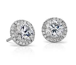 diamond ear rings images Halo diamond earring setting in platinum blue nile