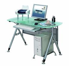 Modern Office Table With Glass Top Amazon Com Modern Glass U0026 Steel Frame Computer Desk Kitchen U0026 Dining
