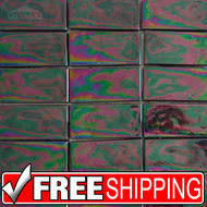 Recycled Glass Backsplash by Echo Recycled Glass Tile 1x3 Aqua Iridescent Eg010 I