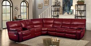 Red Leather Reclining Chair Homelegance Pecos Reclining Sectional Set Red Leather Gel Match