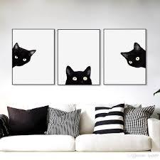 2017 cats head modern cute animal canvas a4 print poster