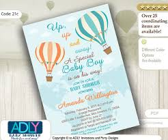oh the places you ll go baby shower pastel turquoise hot air balloon boy baby shower invitation