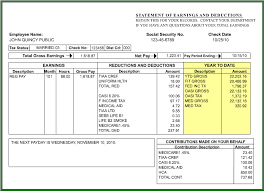 Payroll Statement Template by Year To Date
