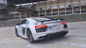 nardo grey r8 audi r8 v10 plus with the akrapovic exhaust system acceleration