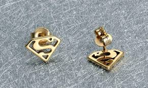 superman earrings 2018 18k gold plated stud earrings for women men superman