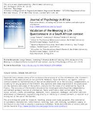 validation of the meaning in life questionnaire in a south african
