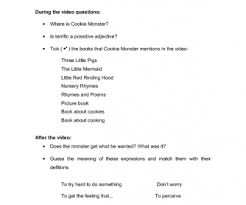 video worksheet for adults cookie monster in the library