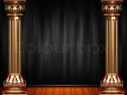 Black Curtain Theatre Blue Curtain Stage Stock Photo Colourbox