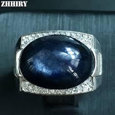 aliexpress buy mens rings black precious stones real zhhiry big men rings genuine sapphire gem for real 925