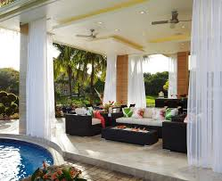 lanai porch sheer curtain ideas patio tropical with outdoor bar square height