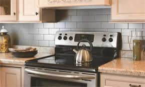 stainless kitchen backsplash aspect peel stick metal tiles stainless steel by acp on