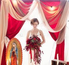 deep red cascading bouquet art deco wedding inspiration