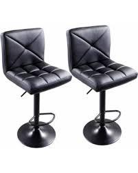 bargains on zimtown 2pcs pu leather chairs adjustable swivel