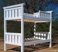 handmade modified twin xl over twin xl bunk bed painted white by