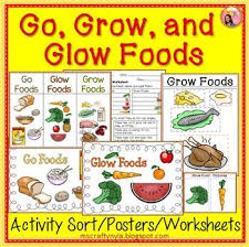 go glow and grow foods sorting activity worksheet and posters