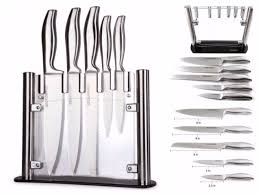 Knives Kitchen Utopia Kitchen Knife Block Cutlery Acrylic Clear Stand Stainless
