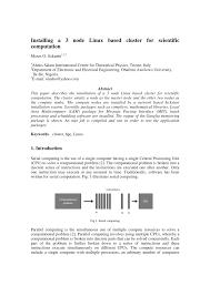 installing a 3 node linux based cluster for scientific computation