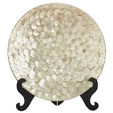 capiz shell decorative platter with stand pier 1 imports