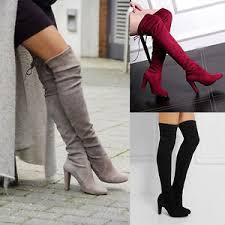 s high boots knee shoes high heel winter autumn slip on leisure lace up