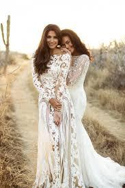 boho sheer long sleeve lace wedding dress on the hunt