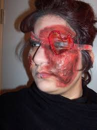 bloody heart eye patch fake skin makeup techniques and sewing