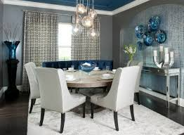 Aqua Dining Room Blue Tufted Leather Modular Chair And Dusty Gray Dining Table Also