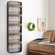 Desk Wall Organizer by Huge Five Basket Wood And Metal Wall Organizer Industrial Inspired
