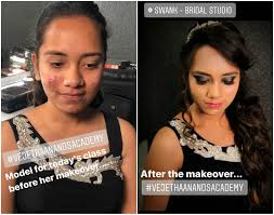 vejetha anand s hair and makeup academy students work budding