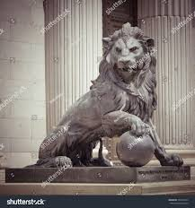 Outdoor Lion Statue by Lion Statue Madrid Spain Retro Effect Stock Photo 204735247