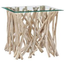 Glass Top Side Table Atelier Coastal Retreat Glass Top Side Table With Teak Branch