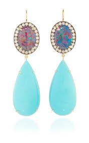 turquoise opal one of a kind australian opal earring with ice moda operandi
