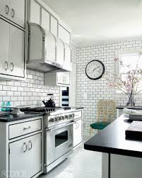 Subway Tiles Kitchen by Subway Tile Definition Sleek Stainless Steel Microwave Wooden