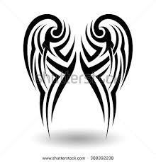 hand drawn tribal tattoo wings shape stock vector 308392238