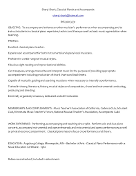 Piano Teacher Resume Sample by Sheryl Shark Piano Resume