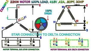 how to work induction motor star delta connection22kw and three