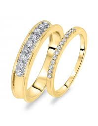 3 8 carat t w trio matching wedding ring set 14k yellow gold 3 4 carat bridal wedding ring set 10k yellow gold