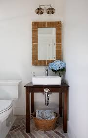 powder room sinks and vanities powder room with seagrass mirror and table turned sink vanity