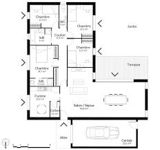 plan de maison 4 chambres plan maison plain pied en l avec 4 chambres ooreka