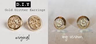 glitter stud earrings with an i e diy gold glitter earrings