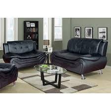 Modern Sofa And Loveseat Frady 2 Pc Black Faux Leather Modern Living Room Sofa And Loveseat
