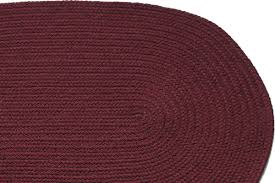 Round Burgundy Rug Solid Burgundy Braided Rug