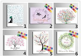 diy wedding fingerprint tree guest book painting canvas